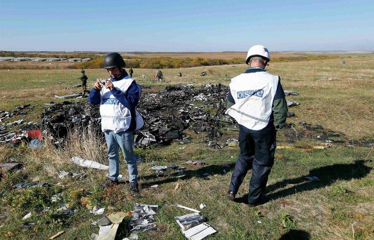 Члены ОБСЕ стоят возле обломков разбившегося в Донецкой области Boeing.