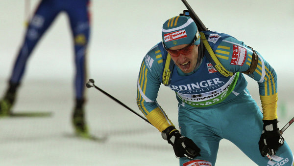 Украинец Сергей Седнев мужской эстафетной гонки 4х7,5 км на Чемпионате мира по биатлону в Ханты-Мансийске. Архивное фото