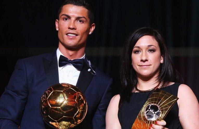 Криштиану Роналду и лучшая футболистка мира Надин Кесслер на церемонии вручения  Золотого мяча