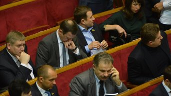 Депутаты в зале заседаний Верховной Рады