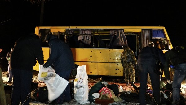 Обстрел автобуса под Волновахой. Архивное фото