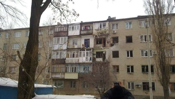 Последствия обстрела Дебальцево
