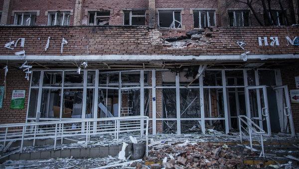 Вид на Донецкую городскую больницу номер 3 после обстрела