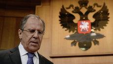 Сергей Лавров перед началом пресс-конференции