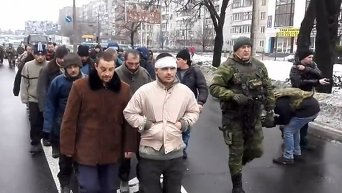 Колонная украинских пленных на улицах Донецка
