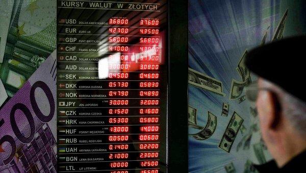 Информационное табло с курсами валют в Польше
