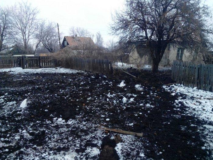 Обстрел города Горское в Луганской области
