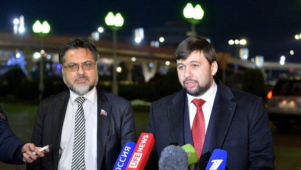 Представители Донецкой и Луганской народных республик Денис Пушилин (справа) и Владислав Дейнего. Архивное фото