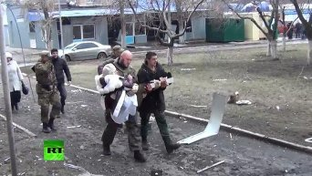 Обстрел больницы в Донецке. Видео