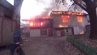 Пожар в Донецке в результате обстрела