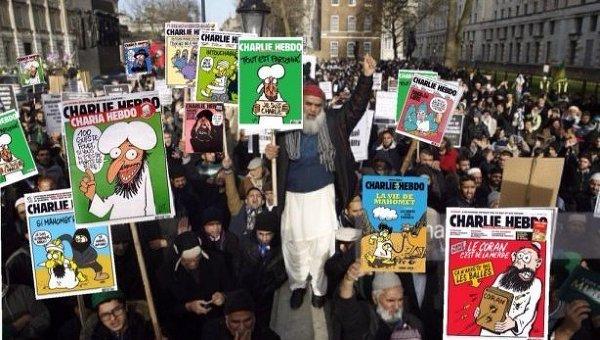 Акция мусульман в Лондоне против карикатур Charlie Hebdo