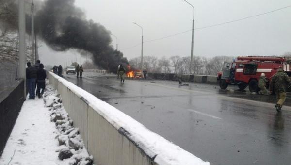 Артобстрел моста в Донецке