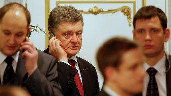Петр Порошенко на переговорах нормандской четверки в Минске