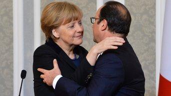 Ангела Меркель и Франсуа Олланд на переговорах в Минске
