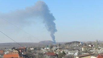 Столб дыма над Донецком