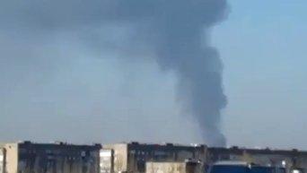 Мощный столб дыма в Донецке