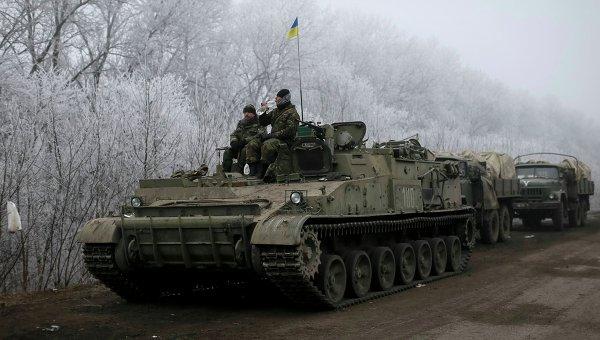 Украинские военные в районе Дебальцево