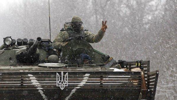 Силы ВСУ на трассе Артемовск - Дебальцево