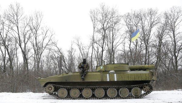 Украинские военные между Артемовском и Дебальцево, 17 февраля 2015 года