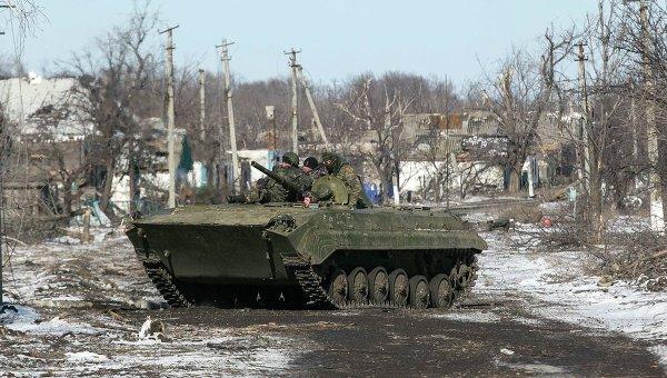Ополченцы ДНР в Никишино Донецкой области 17 февраля 2015 года