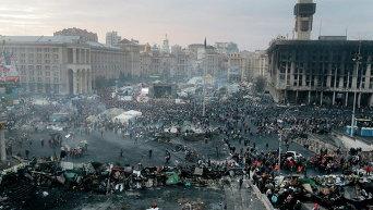 Вид на Майдан Незалежности во время событий 20 февраля 2014 года