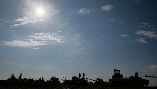 Украинские военные в Благодатном близ Дебальцево