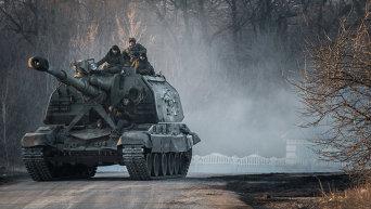 Самоходная артиллерийская установка МСТА-С ополчения ДНР. Архивное фото