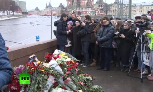 Акция памяти Бориса Немцова в Москве. Видео
