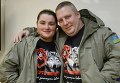 Комбат батальона Слобожанщина Андрей Янголенко с супругой Инной