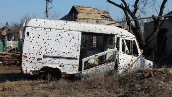 Разрушенные районы рядом с аэропортом Донецка