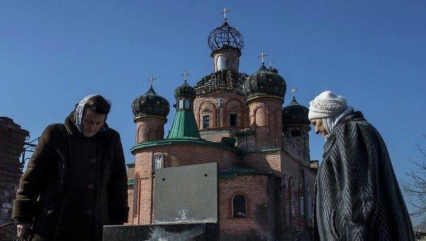 Обстрелянный храм в Октябрьском районе Донецка