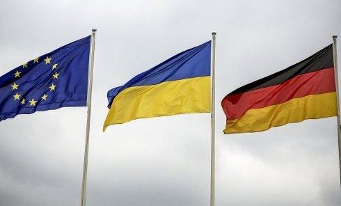 Флаги Украины, Германии и Евросоюза