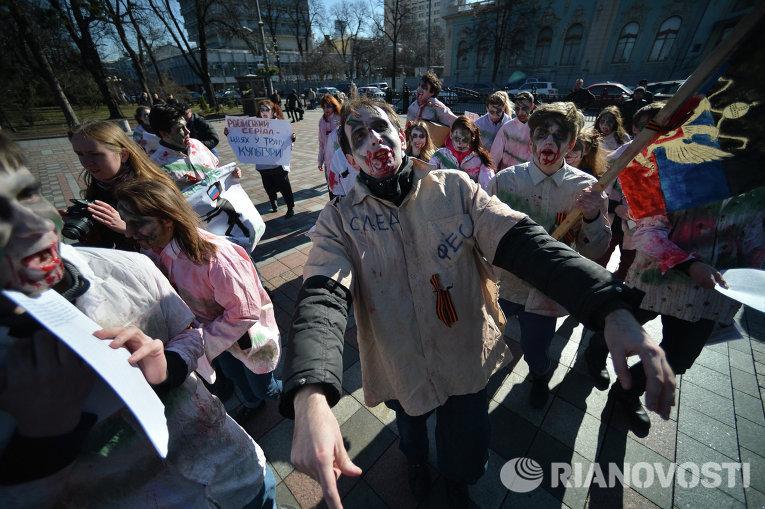 Флешмоб под Верховной Радой в поддержку запрета российских фильмов и сериалов
