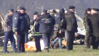 Место падения вертолета в Киевской области