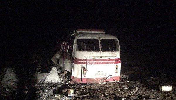 Взорвавшийся в Донбассе автобус