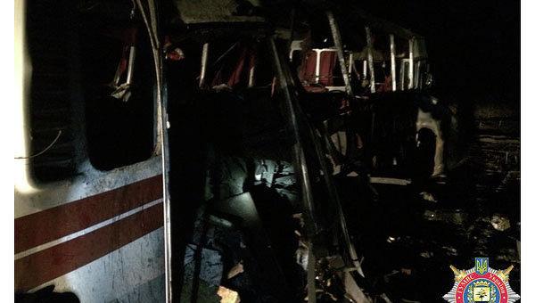 На месте подрыва автобуса под Артемовском