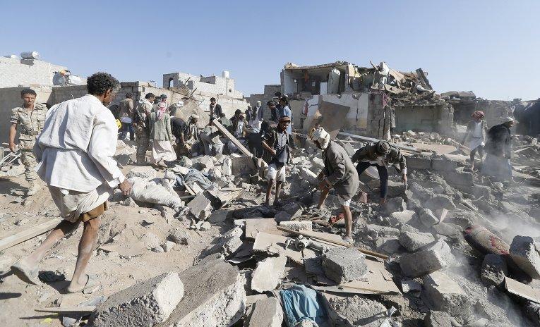 Последствия авиаудара по Йемену