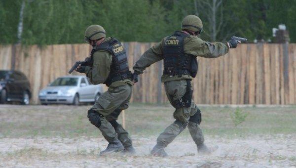 Демонстрация боевой подготовки бойцов спецподразделения ГУБОП Украины Сокол