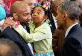 Реакция девочки на приветствие Барака Обамы