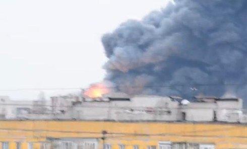 Пожар в Новомосковске. Видео