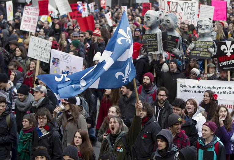В Монреале тысячи студентов протестуют против политики жесткой экономии