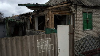 Разрушенный в Дебальцево жилой дом, 17 марта 2015 г