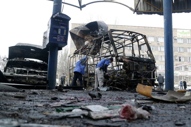 Миссия ОБСЕ на месте обстрела на автовокзале в Донецке