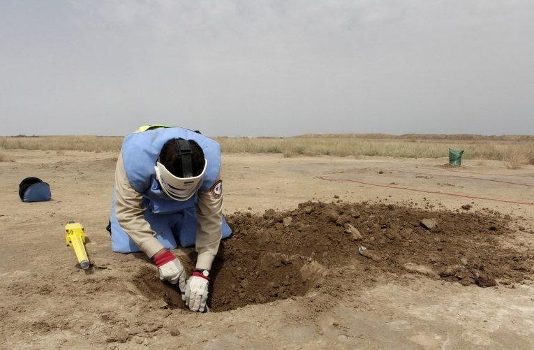 Участник команды по разминированию мин в пустыне к востоку от провинции Басра на юге Ирака