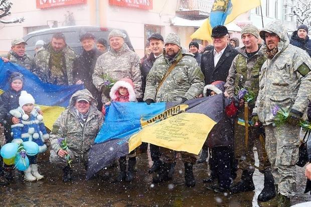 В Коломыю из зоны АТО вернулись добровольцы батальона Золотые Львы Черной Сотни