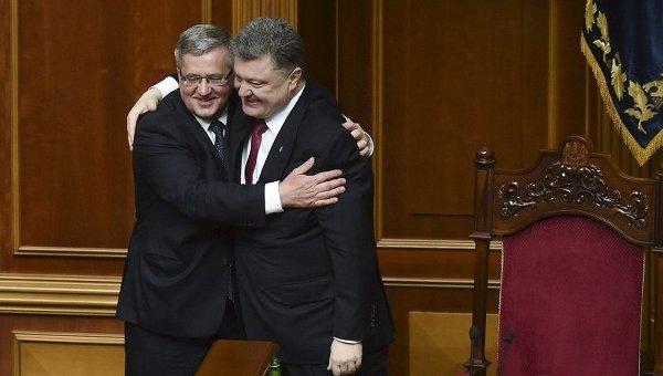 Президент Польши Бронислав Коморовский и президент Украины Петр Порошенко в Верховной Раде Украины