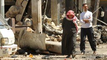 Сирийские города после авианалета проправительственных ВВС