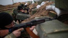 Украинские военные на своих позициях возле Широкино