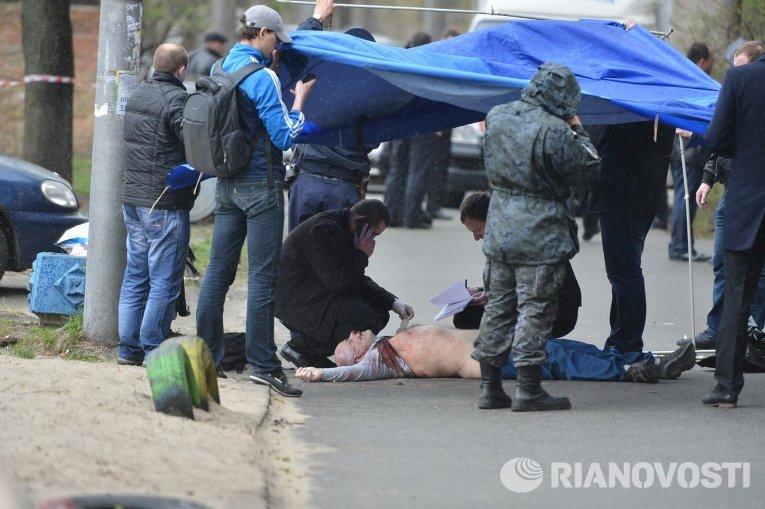 Олег Бузина на месте убийства
