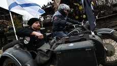 """Акция """"Ночных волков"""" в поддержку соотечественников на Украине"""